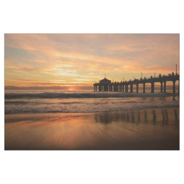 Beach Themed Pier beach sunset fabric