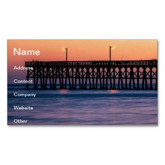 Pier beach sunset magnetic business card