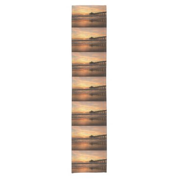 Beach Themed Pier beach sunset short table runner