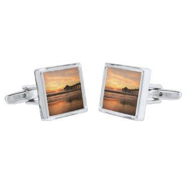 Beach Themed Pier beach sunset silver cufflinks