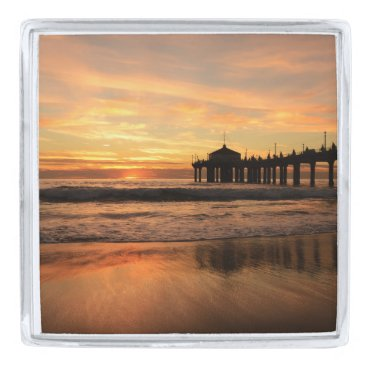 Beach Themed Pier beach sunset silver finish lapel pin