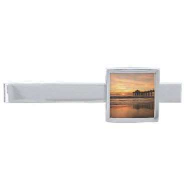 Beach Themed Pier beach sunset silver finish tie bar