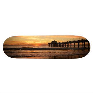 Pier beach sunset skateboard
