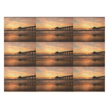 Beach Themed Pier beach sunset tablecloth