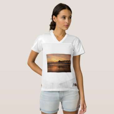 Beach Themed Pier beach sunset women's football jersey