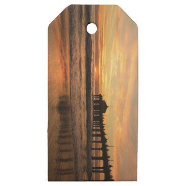 Beach Themed Pier beach sunset wooden gift tags