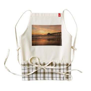 Beach Themed Pier beach sunset zazzle HEART apron