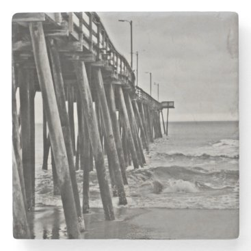 Beach Themed Pier by Shirley Taylor Stone Coaster