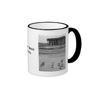 Pier Fishing on a Cloudy Day Ringer Coffee Mug