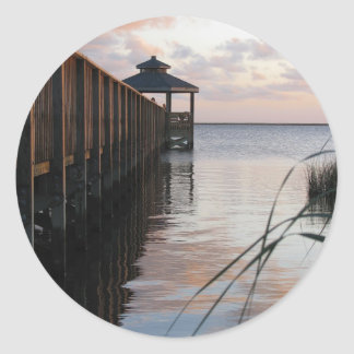 Pier & Gazebo at Sunset, Outer Banks NC Stickers