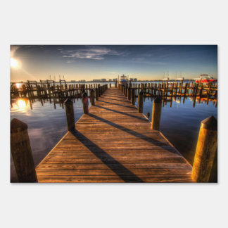 Pier HDR sunset Yard Sign