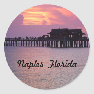 pier in Naples, Florida at sunset Classic Round Sticker