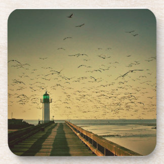 Pier, Lighthouse, and Seagulls Coaster