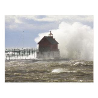 PIER LIGHTHOUSE vs MONSTER WAVES Postcard