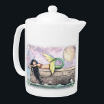 "Pier of Dreams Sleeping Mermaid Teapot<br><div class=""desc"">""Pier of Dreams"" © Molly Harrison  www.mollyharrisonart.com. Please see my matching mugs,  jars,  and pitchers!</div>"