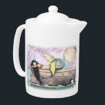 """Pier of Dreams Sleeping Mermaid Teapot<br><div class=""""desc"""">&quot;Pier of Dreams&quot; &#169; Molly Harrison  www.mollyharrisonart.com. Please see my matching mugs,  jars,  and pitchers!</div>"""