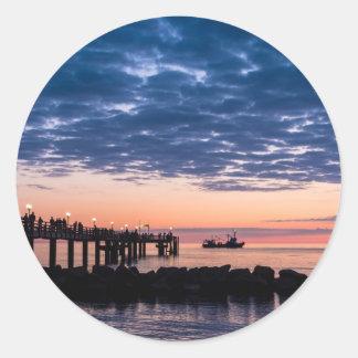Pier on shore of the Baltic Sea Classic Round Sticker