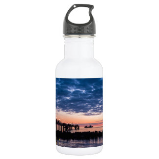 Pier on shore of the Baltic Sea Water Bottle