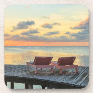 Pier overlooks the ocean, Belize Beverage Coaster