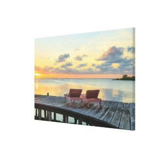 Pier overlooks the ocean, Belize Canvas Print