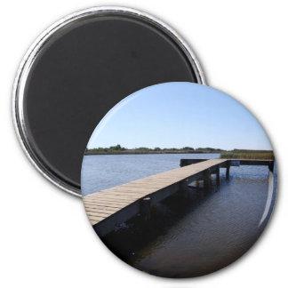 Pier, Salt Marsh, Nantucket Island 2 Inch Round Magnet