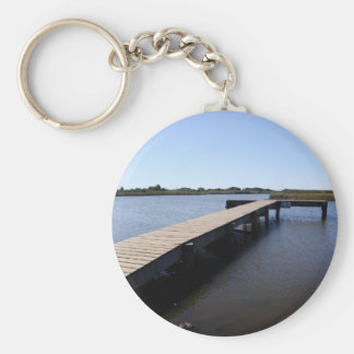 Pier, Salt Marsh, Nantucket Island Keychain