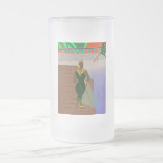Pier Scenery Frosted Glass Beer Mug