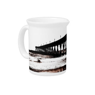 Pier Silhouette with Waves Drink Pitcher
