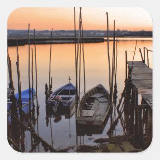 Pier stilt on the river square sticker