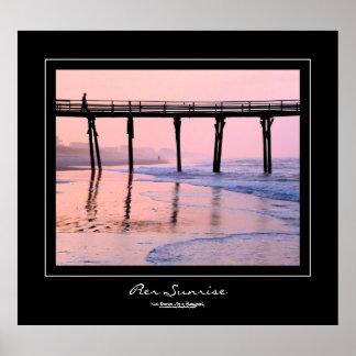Pier Sunrise Black Border Poster