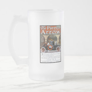 Pierce Arrow Motor Car Frosted Glass Beer Mug