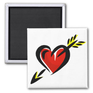 Pierced Heart Arrow Valentine 2 Inch Square Magnet