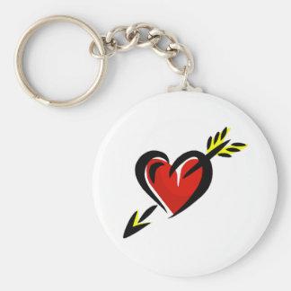 Pierced Heart Arrow Valentine Basic Round Button Keychain