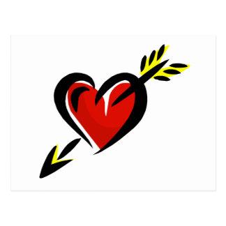 Pierced Heart Arrow Valentine Postcard