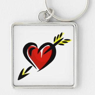 Pierced Heart Arrow Valentine Silver-Colored Square Keychain