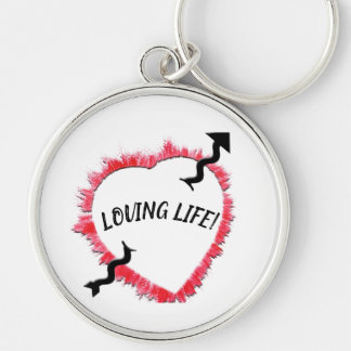 Piercing Arrow & Rough Red Heart Outline Template Keychain