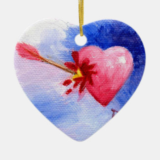 Piercing Heart aceo Ceramic Ornament