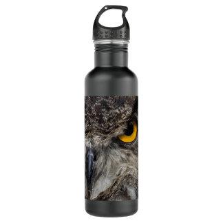 Piercing yellow eyes of an eagle owl 24oz water bottle