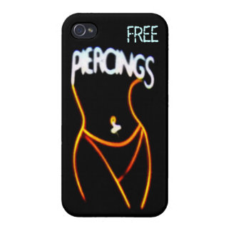 Piercings Neon(Gold) Lady Silhouette iPhone 4 Case