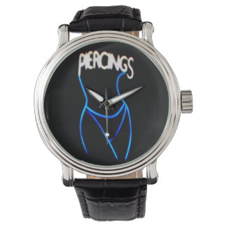 Piercings Neon Lady Silhouette -Blue Watches
