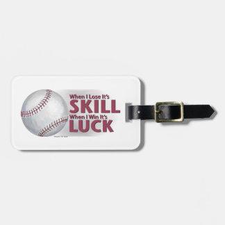Pierda el béisbol de la suerte del triunfo de la etiqueta de maleta