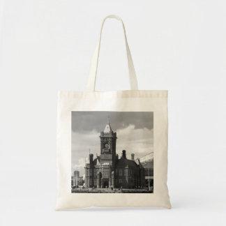 Pierhead Building, Cardiff, Wales (B&W) Canvas Bags