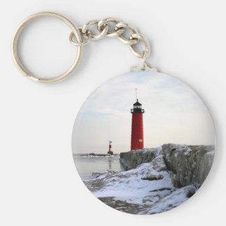 Pierhead Lighthouse In Winter Keychain
