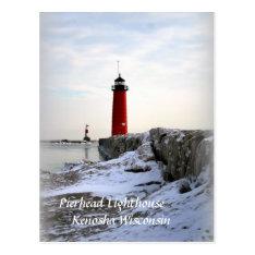 Pierhead Lighthouse, Kenosha Wisconsin Postcard at Zazzle