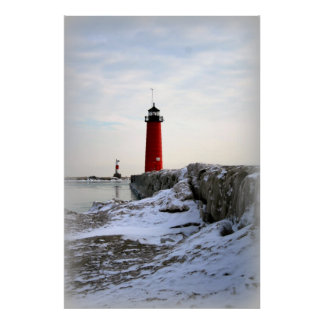 Pierhead Lighthouse, Kenosha Wisconsin Poster