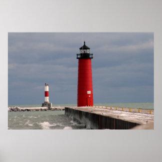 Pierhead Lighthouse, Kenosha, Wisconsin Poster