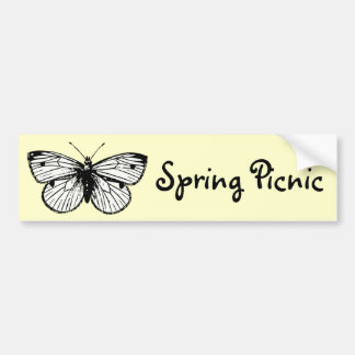 Pieris Rapae Butterfly Spring Picnic Banner Bumper Stickers