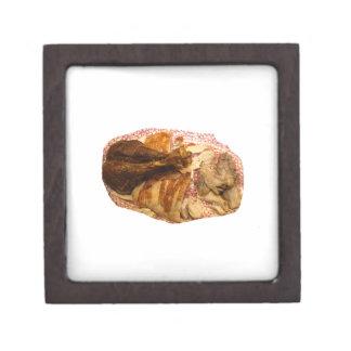 pierna y carne de pavo en el disco blanco rojo caja de joyas de calidad