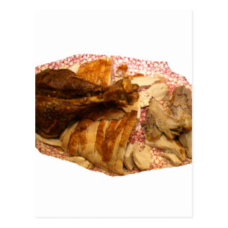pierna y carne de pavo en el disco blanco rojo postales