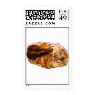 pierna y carne de pavo en el disco blanco rojo sello postal